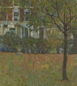 British School, mid-late 20th century- A Georgian London Square; oil on board, signed with