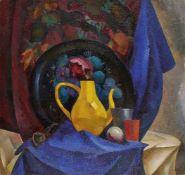 Viktor Abramian, Russian 1938-2008- Nature Morte au pot Jaune, 1993; oil on canvas, signed lower