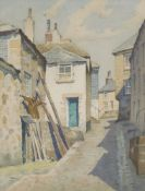 British School, early 20th century- Bethesda Hill, St Ives; watercolour, signed indistinctly and
