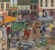 Gloria Stacey, British, mid-late 20th century- The Street Market, 1985; mixed media collage in