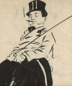 British School, early-mid 20th century- Man with a cigar and top hat; pen and brush and black ink,