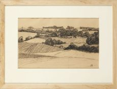 Robert Pohill Bevan, British 1865-1925- Landscape Study; charcoal, signed with monogram, squared for
