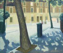George Fisher Gilmour, British 1908-1984- Nocturne street scene; oil on canvas, 25x30.5cm, (ARR)