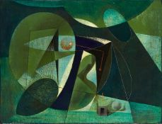 Clarke Hutton, British 1898-1985- Geometric composition in green, 1978; oil on panel, signed and