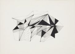 Clarke Hutton, British 1898-1984- Geometric line drawings, 1966; pen and ink, three, one dated in