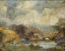 Peggy Somerville, British 1918-1975- Classical English Landscape; oil on board, 10.5x13cm, (ARR)