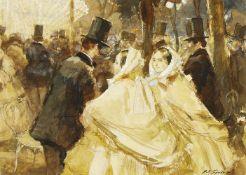 John Strickland Goodall RBA RI NS, British 1908-1996- Cremorne Gardens, Chelsea; watercolour,