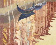 Alan Cotton, British b.1936- Venice Facade Reflection, 1997; oil on canvas, signed, 25x31cm (ARR)