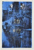 Henry Cliffe, British 1919-1983- Composition in blue and black; lithograph printed in colours,