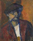 David Bomberg, British 1890-1957- Portrait of artist, 1937; oil on board, 60x51cm, (ARR) Provenance: