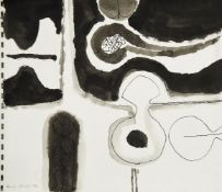 Henry Cliffe, British 1919-1983- Untitled abstract composition, 1974; pen, black ink and wash, sheet