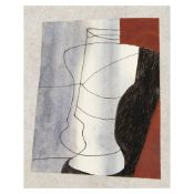 Ben Nicholson OM, British, 1894-1982- Black and Brown, 1981; oil ink and wash on paper, irregular