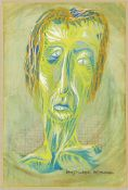 Tom Phillips RA, British b.1937- Portrait of a man, 1963; gouache, signed and dated in Roman