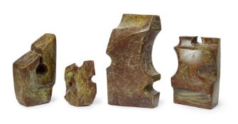 Henry Cliffe, British 1919-1983- Abstract Forms; bronze with green patina, four pieces, signed