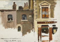 Clifford Hall RBA ROI, British 1904-1973- Shuckburgh Arms, Chelsea, 1931; oil on canvas board,