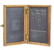 John McKenzie, British 1897-1972- Festival of Music; carved slate panels, a pair, in a shared hinged
