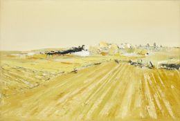 Kit Barker, British 1916-1988- Cornfields, East Sussex, 1969; oil on canvas, signed and dated on the