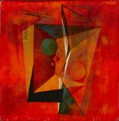 Clarke Hutton, British 1898-1985- Geometric composition in Red, 1982; oil on panel, signed and dated