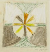 Sir Terry Frost RA, British 1915-2003- Untitled abstract with circle; wax pastel, signed in
