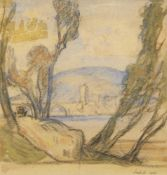 Sir Frank Brangwyn RA RWS RBA, British 1867-1956- View through trees of bridge & mountain;