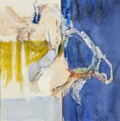 Adrian Heath, British 1930-1992- Abstract composition in blue and yellow; watercolour, 19.5x19cm, (