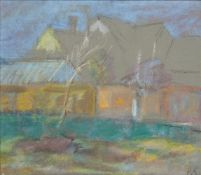Peggy Somerville, British 1918-1975- Farm Buildings, Middleton; coloured pastel on grey paper,