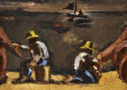 Josef Herman RA, British 1911-2000- Mending the Sails; oil on canvas, 25.5x35.5cm (ARR)