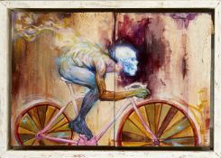 British Contemporary School, late 20th/early 21st century- Skeleton Cyclist; diptych oil on panel,