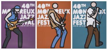 Julian Opie, British b.1958- 40th Montreux Jazz Festival Posters (Purple, Brown, Blue), 2006;