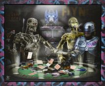 J J Adams, British b.1978- Droids; mixed media with diamond dust on canvas, initialled in silver