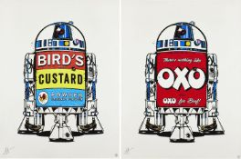 J J Adams, British b.1978- R2D2 (OXO and Birds Custard) oil on canvas, two, each signed in silver,