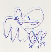 Pure Evil, British b.1968- Bunny tag; felt pen in colours on wove, signed in felt pen recto, sheet