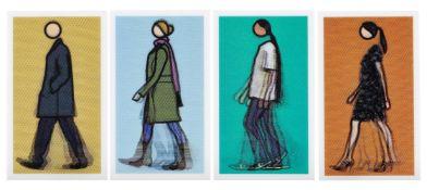 Julian Opie, British b.1958- Walking Figures, 2010; four lenticular postcards, including Verity