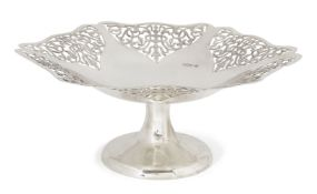 A silver tazza, Sheffield, c.1937, Viners Ltd, the shaped edge to pierced foliate sides and plain