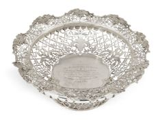 A large pierced silver presentation bowl, Sheffield, c.1917, James Dixon & Sons., retailed by
