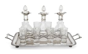 A twin-handled Edwardian silver drinks tray, Birmingham, c.1906, Norton & White, the gadrooned