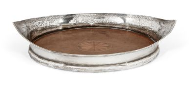 A small navette-shaped Edwardian silver gallery tray, Chester, c.1910, George Nathan & Ridley Hayes,