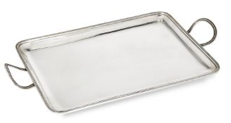 A small silver tray, by Asprey, London, c.1919, of plain rectangular form with reeded border and