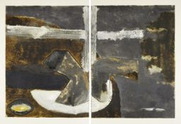 John Walker, British b.1939- Untitled Monotype (Diptych), 1989; two panel monotype in colours on