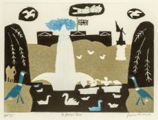 Julian Trevelyan RA, British 1910-1988- St James's Park, 1969; etching with aquatint in colours on