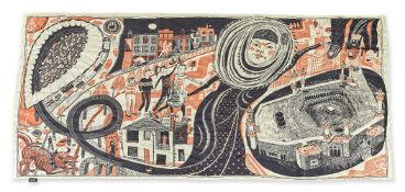 Grayson Perry CBE RA, British b.1960- Ashford Hijab, 2014; screenprint in colours on silk scarf,