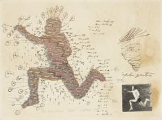 Paul Neagu, Romanian 1938-2004- Jump, 1977; lithograph with hand colouring and collage on wove,