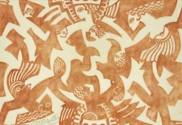 Cyril Edward Power, British 1872-1951- Matriarchy, c.1931; linocut in colour on tissue, signed,