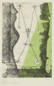 Sir Roland Penrose CBE, British 1900-1984- Bonjour Max Ernst, 1976; etching in colours on wove,