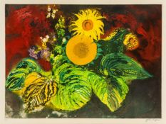 John Piper, British 1903-1992- Sunflowers [Levinson 420], 1989; etching with aquatint in colours