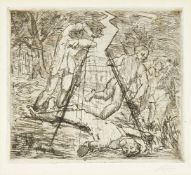 Anthony Gross CBE RA, British 1905-1984- Untitled, undated; etching on laid, signed in pencil, plate