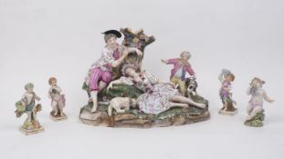A small group of Dresden porcelain, late 19th / early 20th Century, to include a large figure