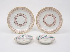A pair of Derby saucer-dishes, 19th century, of circular form, each designed with recurrent rose