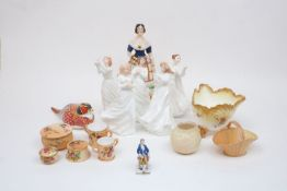 A mixed collection of British ceramics, to include a group of five Royal Doulton figurines after