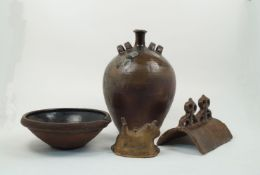 A stoneware flagon, 19th century, of tapering form, salt glaze to bottle neck, with four lug